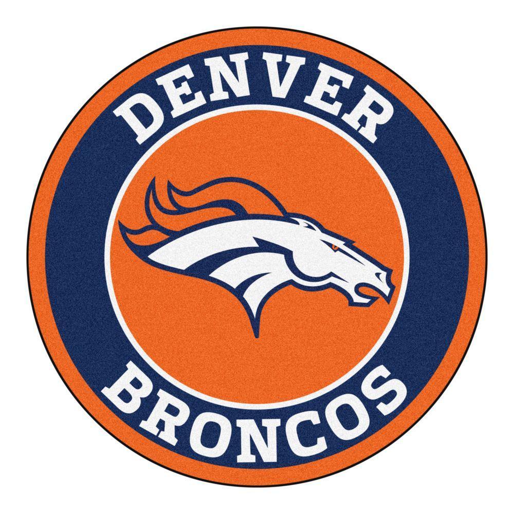 Fanmats Nfl Denver Broncos Navy 2 Ft X 2 Ft Round Area Rug 17957