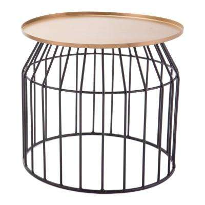Tray Gold and Black Small End Table