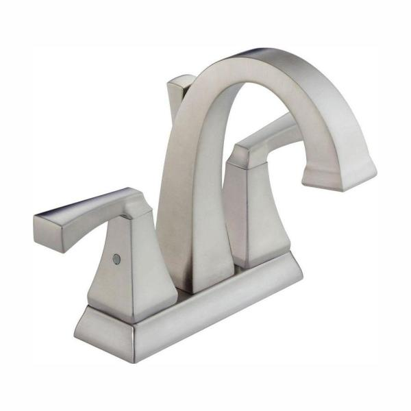 Dryden 4 in. Centerset 2-Handle Bathroom Faucet with Metal Drain Assembly in Stainless