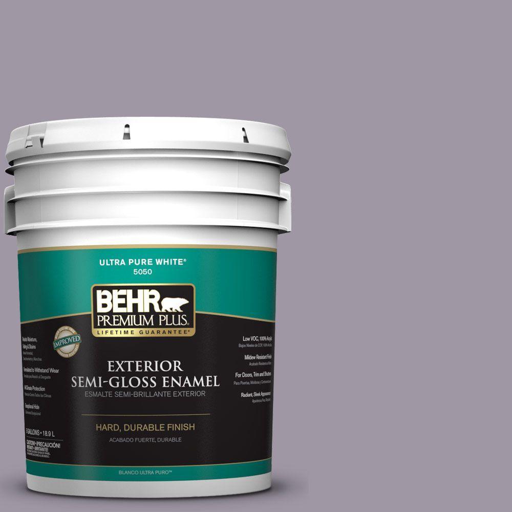BEHR Premium Plus 5-gal. #N100-4 Fortune Semi-Gloss Enamel Exterior Paint