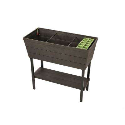 32.3 in. W x 30.7 in. H Graphite Resin Elevated Patio Garden Bed
