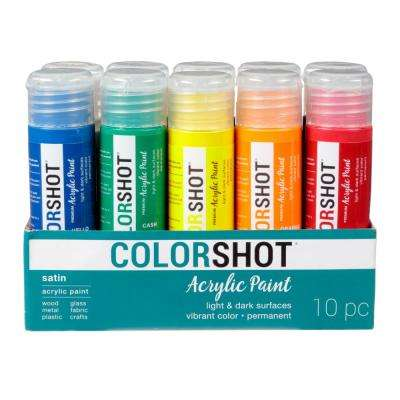 2 oz. 10-Color Rainbow Craft Paint Set