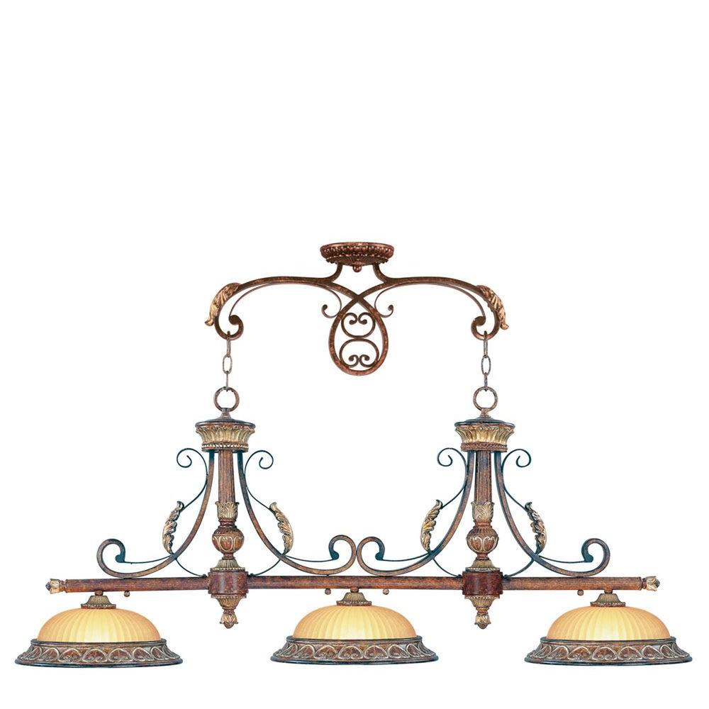 Livex Lighting Providence 3-Light Verona Bronze with Aged Gold Leaf Accents Incandescent Island Ceiling Pendant