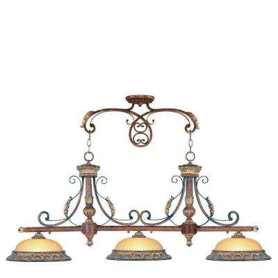 Providence 3-Light Verona Bronze with Aged Gold Leaf Accents Incandescent Island Ceiling Pendant