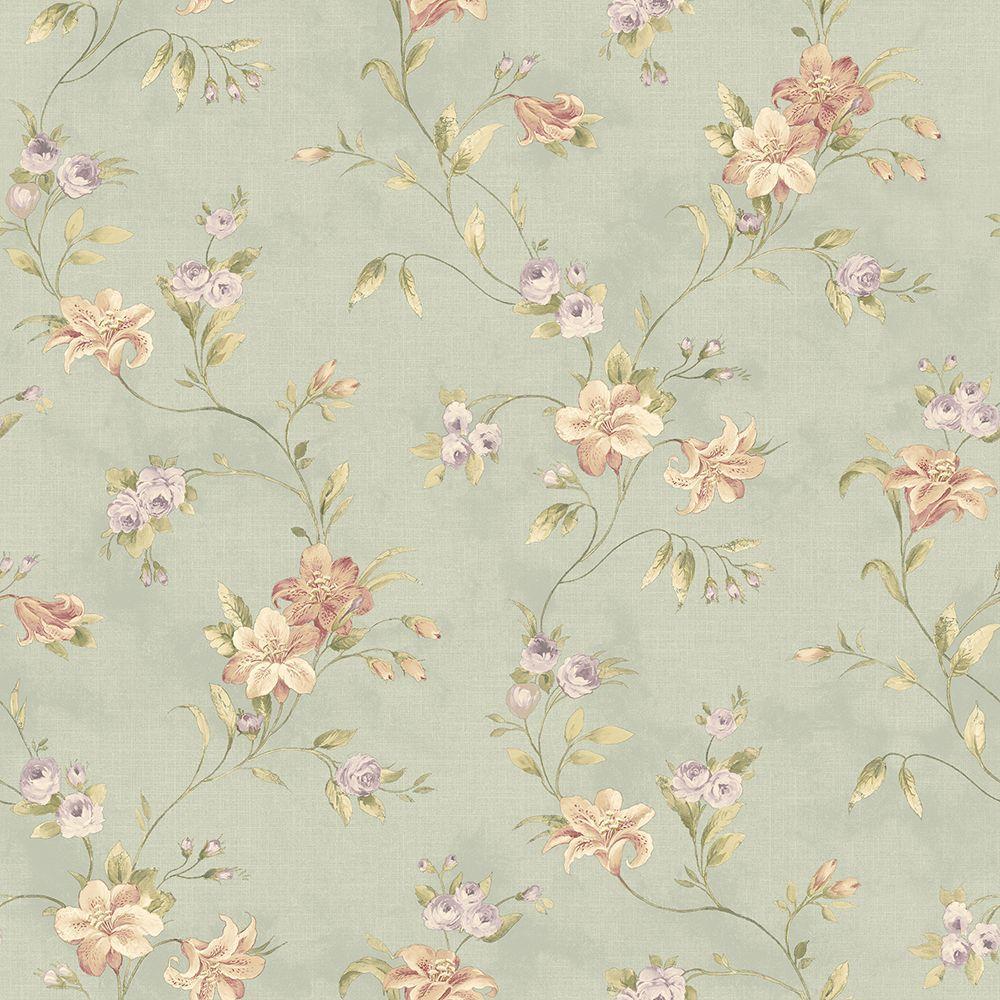 Lorraine Lily Blue Floral Blue Wallpaper Sample