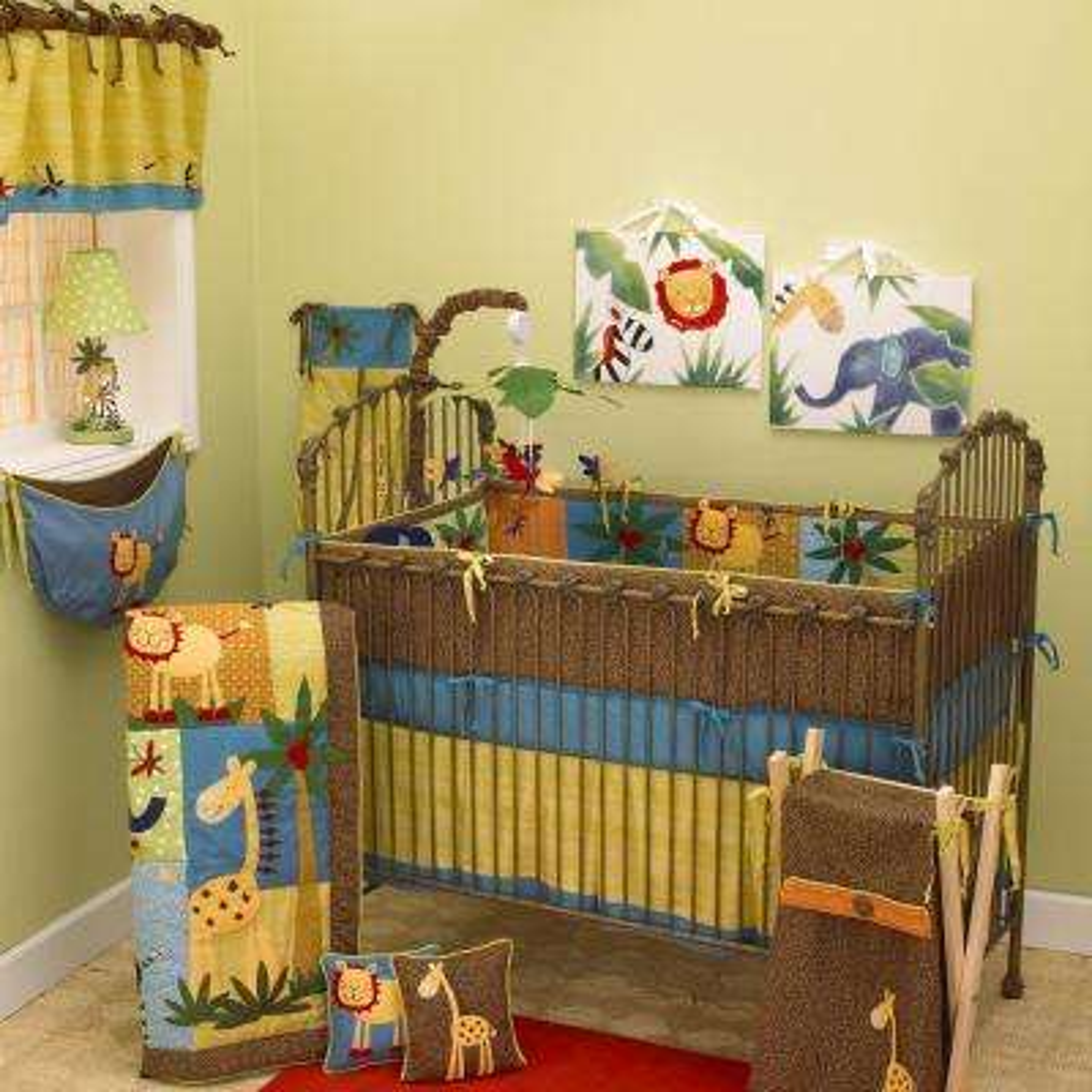 Paradise Multicolor Jungle 4-Piece Crib Bedding Set