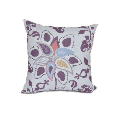 16 in. x 16 in. Paisley Pop Purple Floral Print Pillow