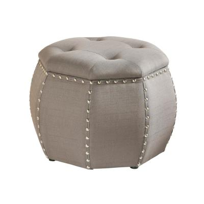 Roxie Rose Tufted Storage Stool in Grey with Silver Nail Heads