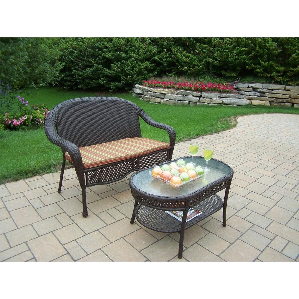 Oakland Living Elite Resin Wicker 2 Piece Patio Loveseat And Coffee Table Set With Stripe