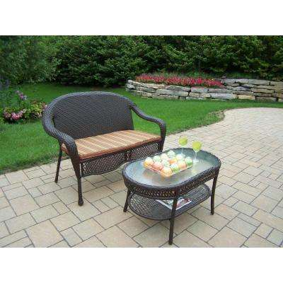 Elite Resin Wicker 2-Piece Patio Loveseat and Coffee Table Set with Stripe Cushion
