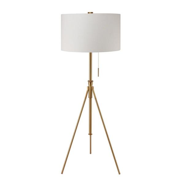 8 in. to 72 in. H Mid-Century Adjustable Tripod Gold Floor Lamp