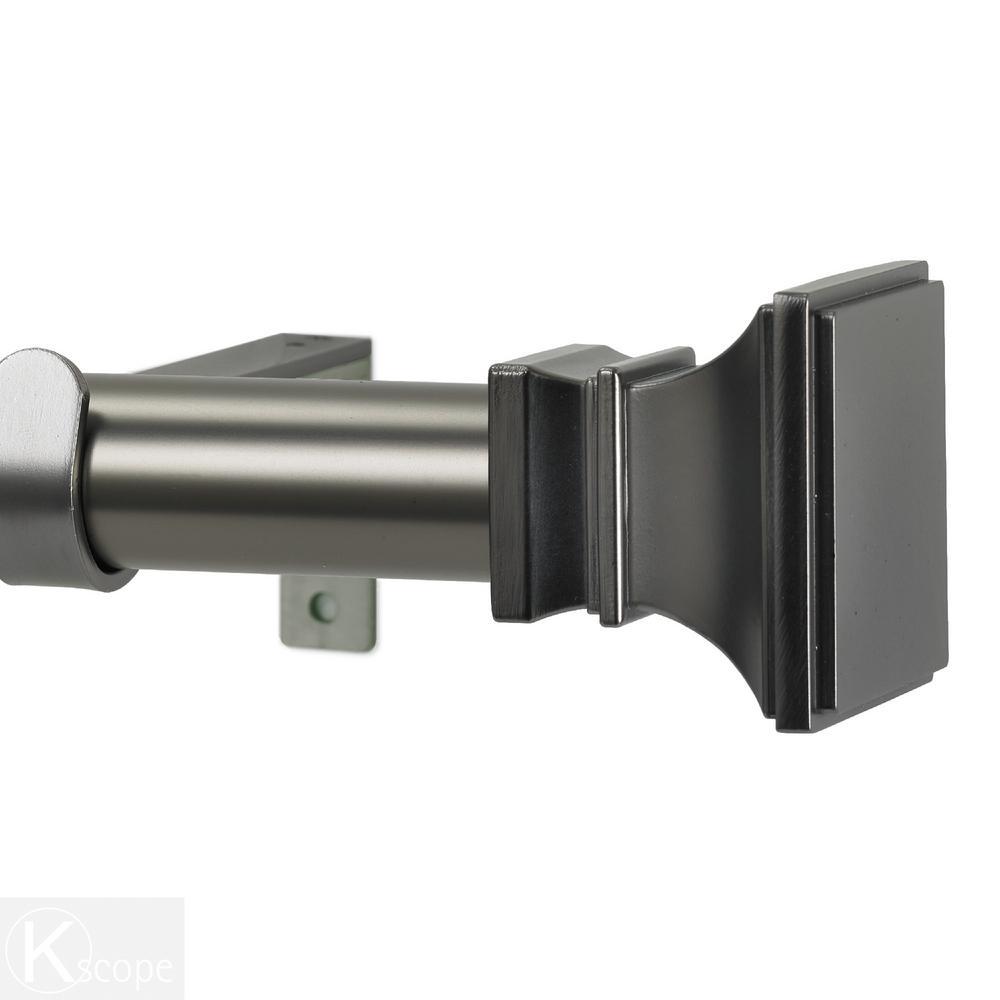 120 in. Non-Telescoping 1-1/8 in. Single Window Curtain Rod Set in Gun Metal with Versailles Finials