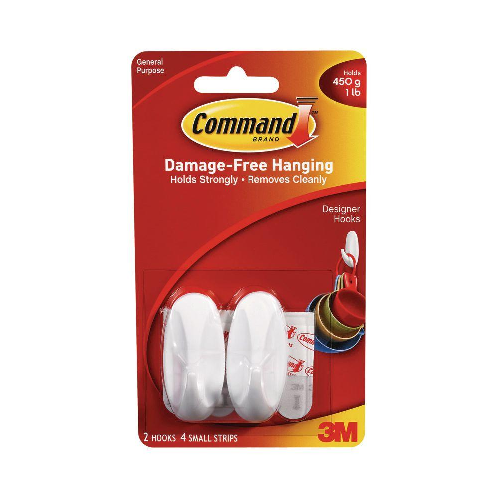 Command 1 lb. 2 in. White Plastic Designer Hooks (2 Hooks, 4 Strips)