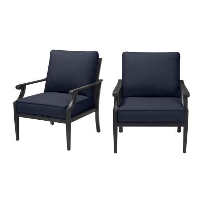Braxton Park Black Steel Outdoor Patio Lounge Chair with CushionGuard Midnight Navy Blue Cushions (2-Pack)