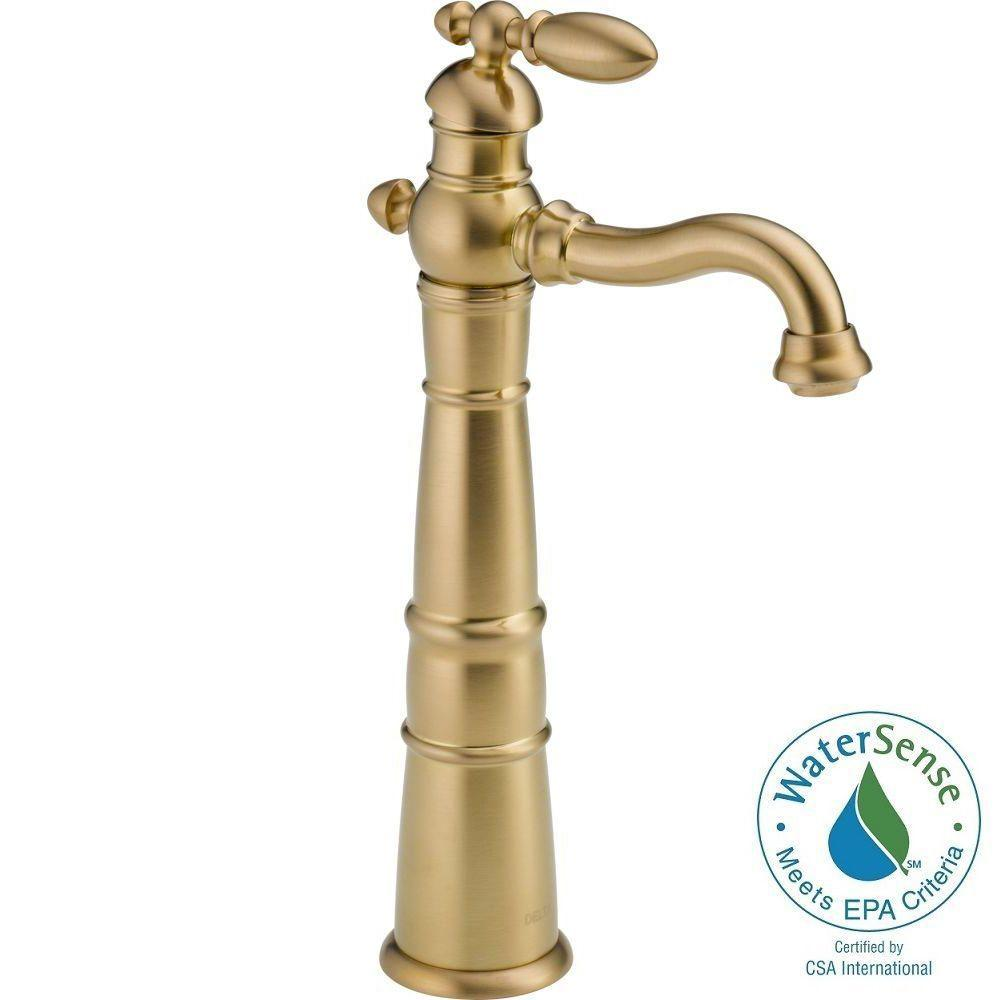 Delta Victorian Single Hole Single-Handle Vessel Bathroom Faucet in Champagne Bronze