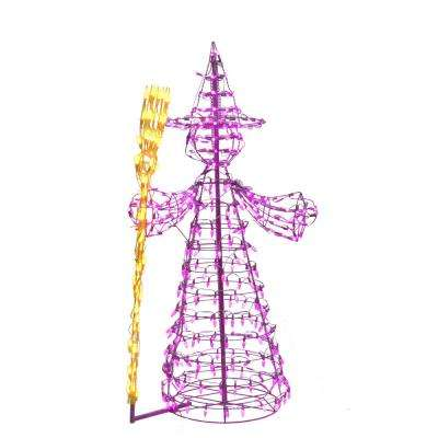 6 ft. 3 in. Purple/Yellow LED Witch with Broomstick