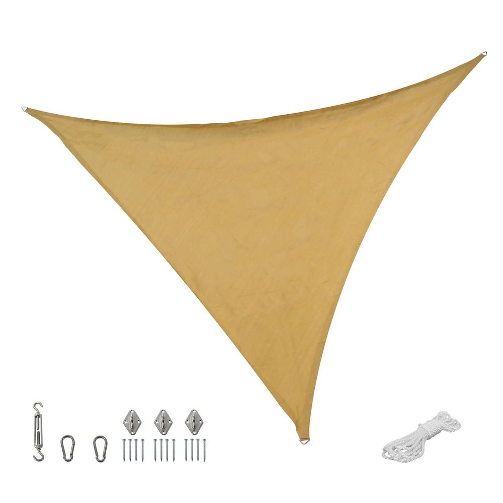 Beige Triangle Sun Shade Sail With Hanging Hardware