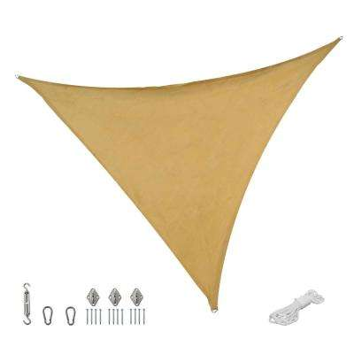 12 ft. x 12 ft. Beige Triangle Sun Shade Sail with Hanging Hardware