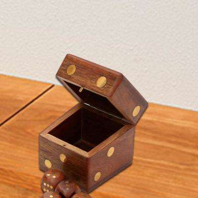 Brown Handmade 2.4 in. Square Rosewood Dice Box with Brass Inlay Work and 5-Dice