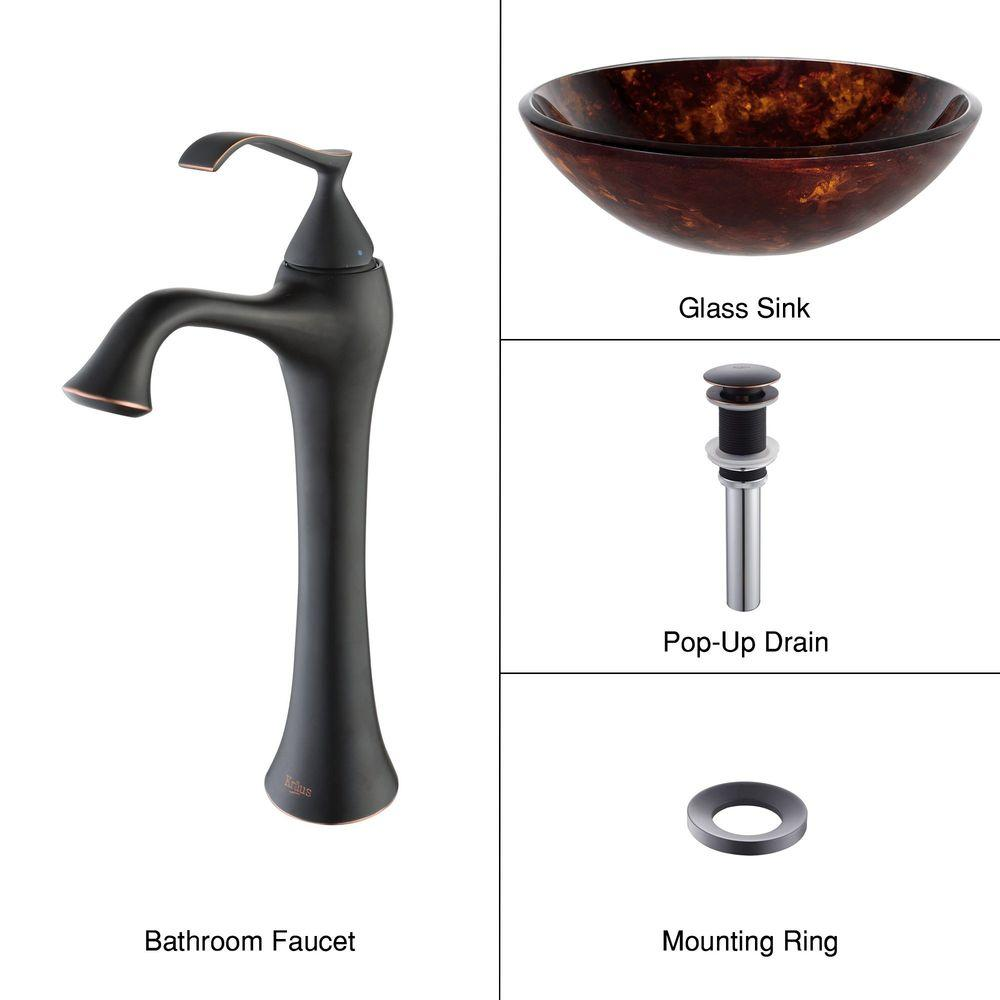 KRAUS Vessel Sink in Autumn with Ventus Faucet in Oil Rubbed Bronze-DISCONTINUED