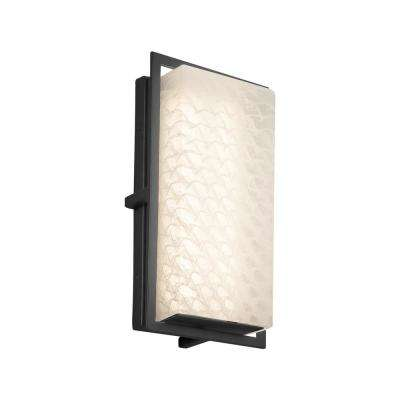 Fusion Avalon Small Matte Black LED Outdoor Wall Sconce with Weave Shade