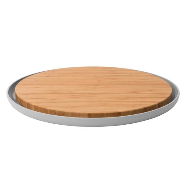 Leo Round Bamboo Cutting Board with Plate