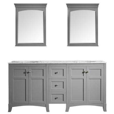 Arezzo 72 in. W x 22 in. D x 36 in. H Vanity in Grey with Marble Vanity Top in Carrara White with White Basin and Mirror