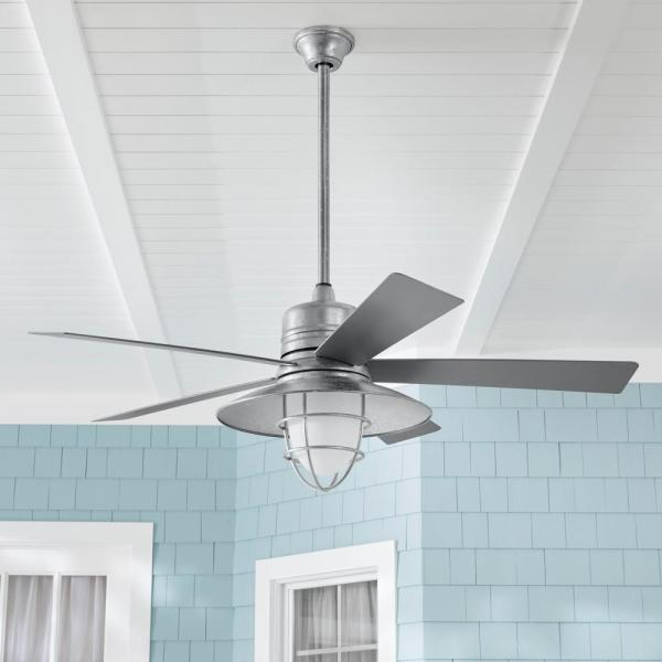 Home Decorators Collection Grayton 54 In Led Indoor Outdoor Galvanized Ceiling Fan With Light Kit And Remote Control 24343 The Home Depot