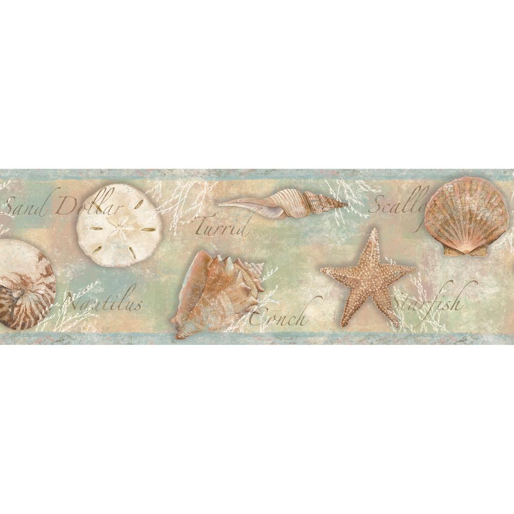 Quinten Blue Seashells Toss Blue Wallpaper Border Sample