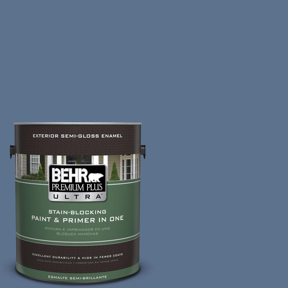 BEHR Premium Plus Ultra 1-gal. #PPU14-1 Arrowhead Lake Semi-Gloss Enamel Exterior Paint