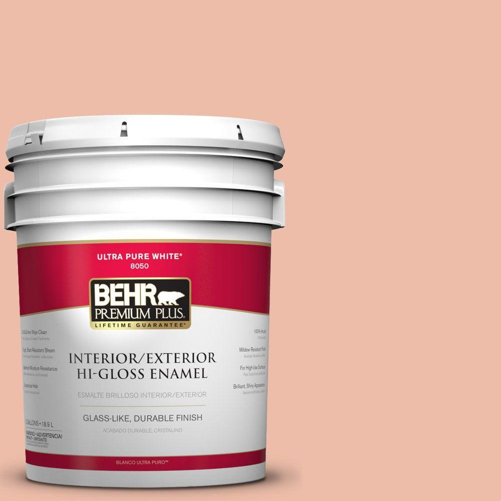 BEHR Premium Plus 5-gal. #BIC-03 Veronese Peach Hi-Gloss Enamel Interior/Exterior Paint