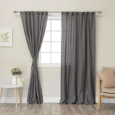 Dark Grey 108 in. L Abelia Belgian Flax Linen Rod Pocket Panel