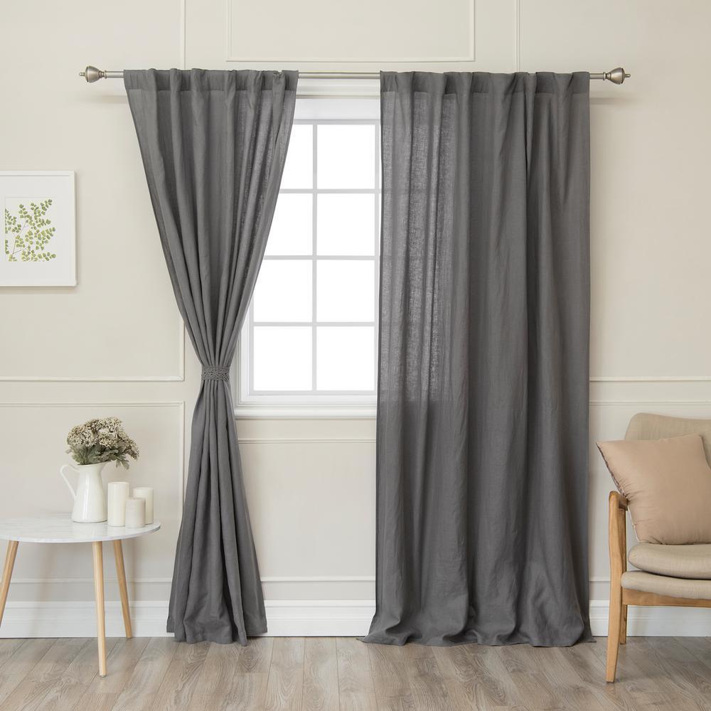 grey linen curtains french best home fashion dark grey 84 in abelia belgian flax linen rod pocket panel