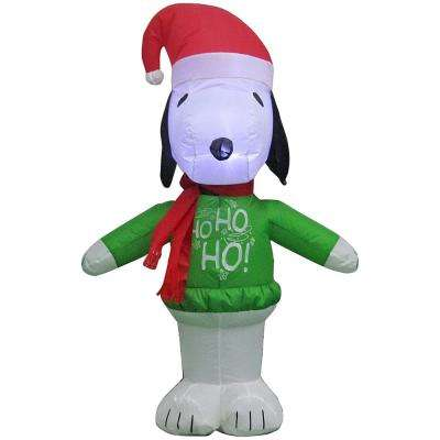 27.56 in. W x 20.47 in. D x 42.13 in H Inflatable Lighted Airblown Snoopy with Ho Ho Ho Sweater