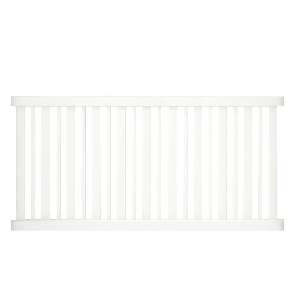 Veranda LaFayette 4 ft. H x 8 ft. W White Vinyl Spaced Picket Fence Panel Kit