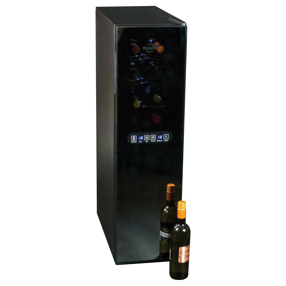 Koolatron 18-Bottle Dual Zone Wine Cellar, Black Body With Stainless Steel Door Frame