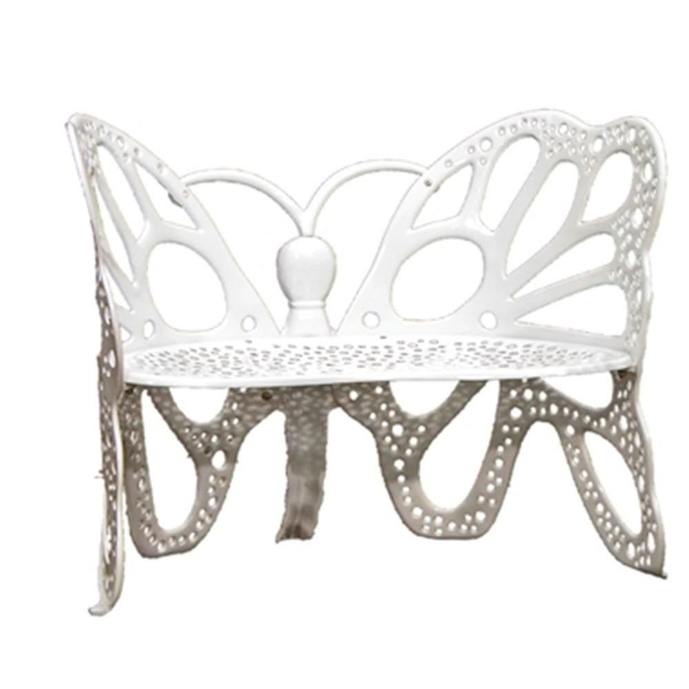 FlowerHouse White Cast Aluminum Butterfly Patio Bench