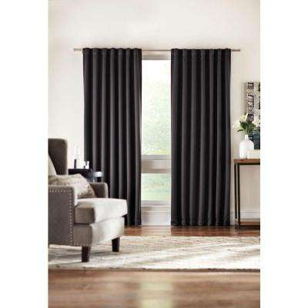Semi-Opaque Black Media Back Tab Curtain