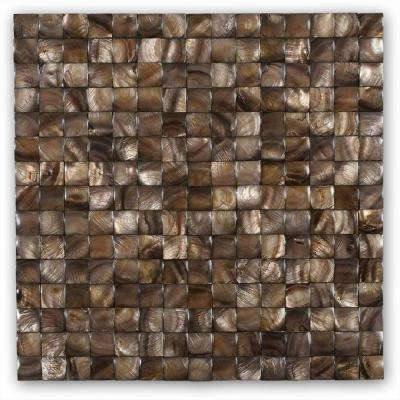 Mother of Pearl Nacre Brown 12 in. x 12 in. x 2 mm 3D Pearl Shell Glass Wall Mosaic Tile