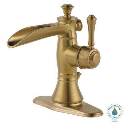 Cassidy Single Hole Single-Handle Open Channel Spout Bathroom Faucet with Metal Drain Assembly in Champagne Bronze