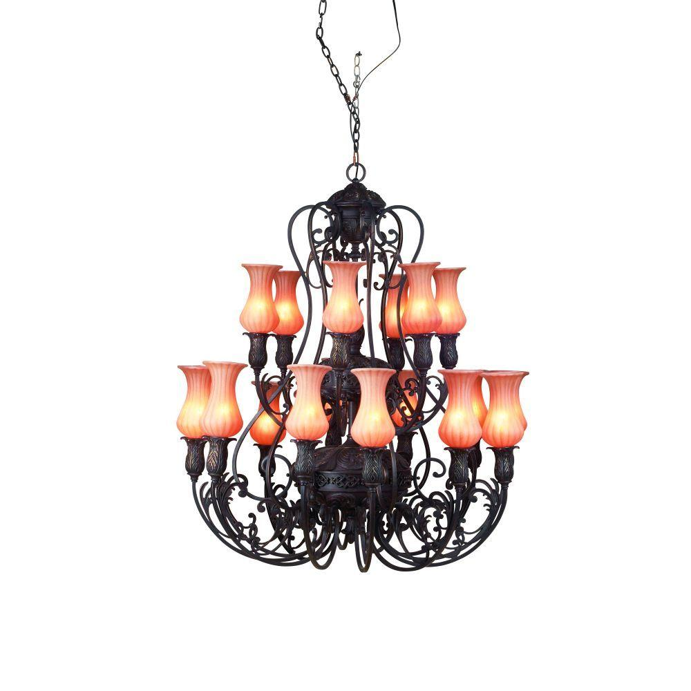 Eurofase Richtree Collection 18-Light Aged Bronze Hanging Chandelier