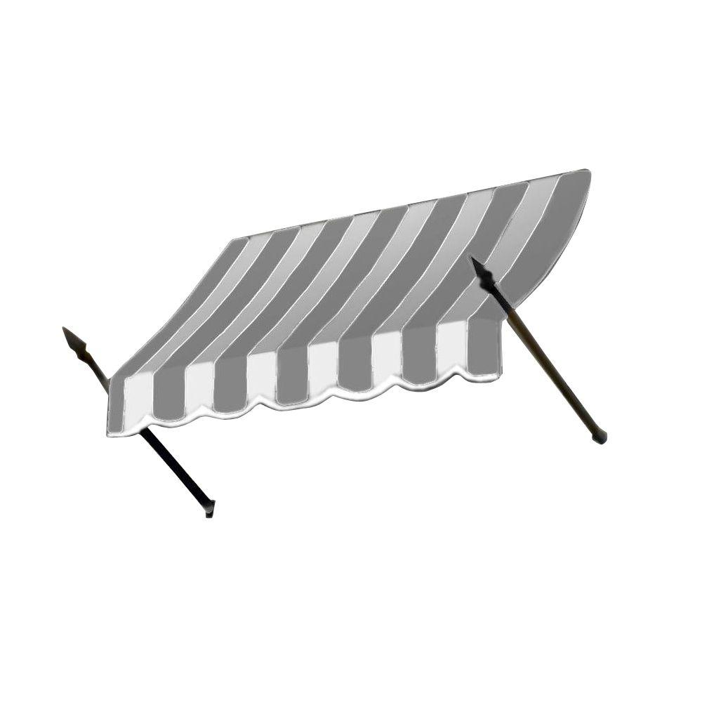 AWNTECH 3 ft. New Orleans Awning (56 in. H x 32 in. D) in Gray / White Stripe