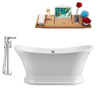 Tub, Faucet and Tray Set 60 in. Acrylic Flatbottom Non-Whirlpool Bathtub in Glossy White