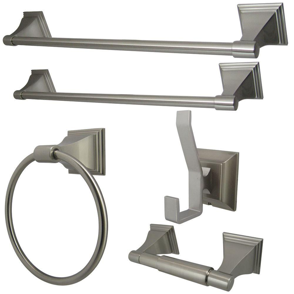 5-Piece Bathroom Accessory Set in Satin Nickel
