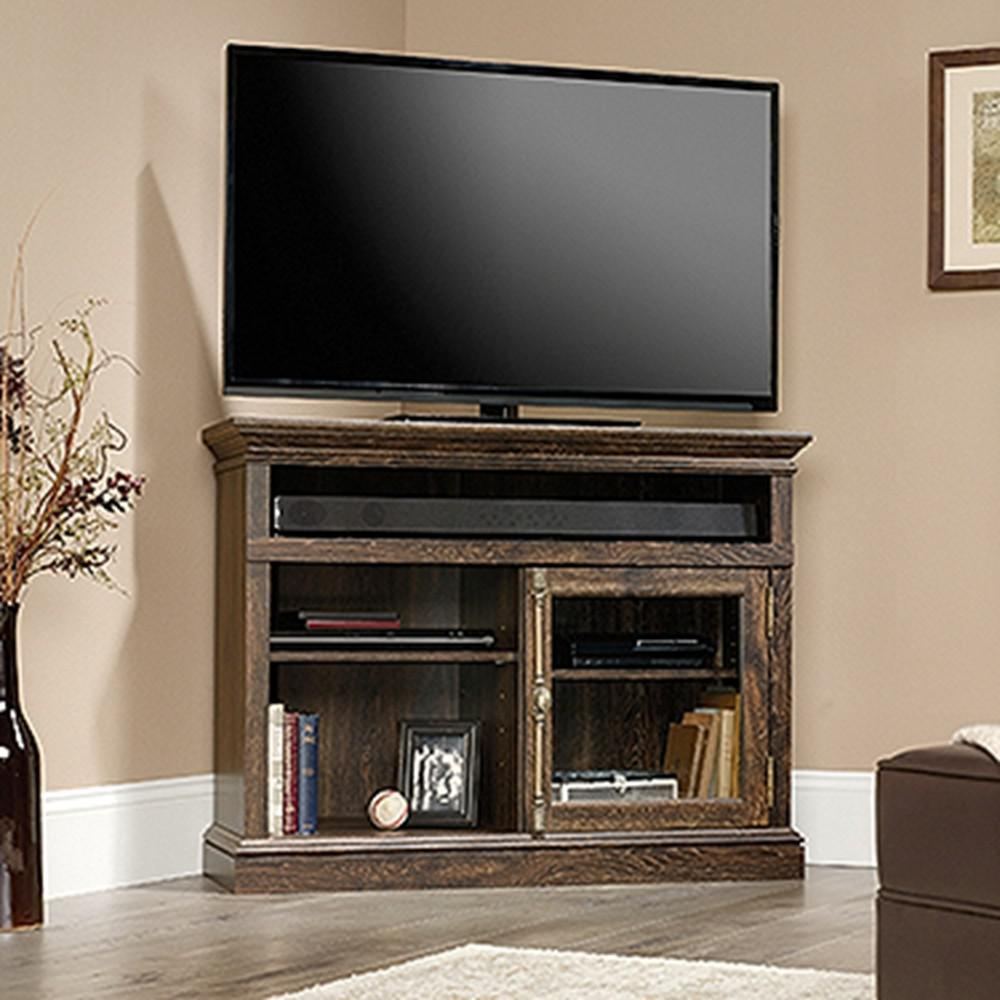 SAUDER Barrister Lane Iron Oak Corner TV Stand