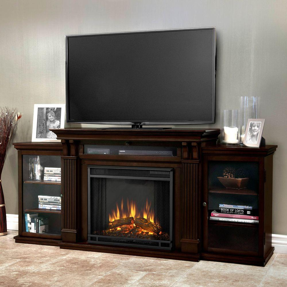 Real Flame Calie Entertainment 67 In Media Console Electric Fireplace Tv Stand Dark Walnut