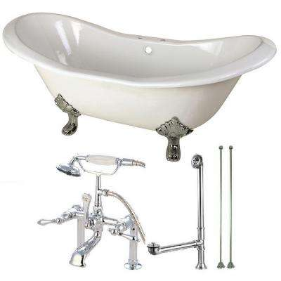 Double Slipper 6 ft. Cast Iron Clawfoot Bathtub in White and Faucet Combo in Chrome