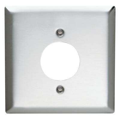 302 Series 2-Gang 1.59 in. Hole Power Outlet Wall Plate in Stainless Steel