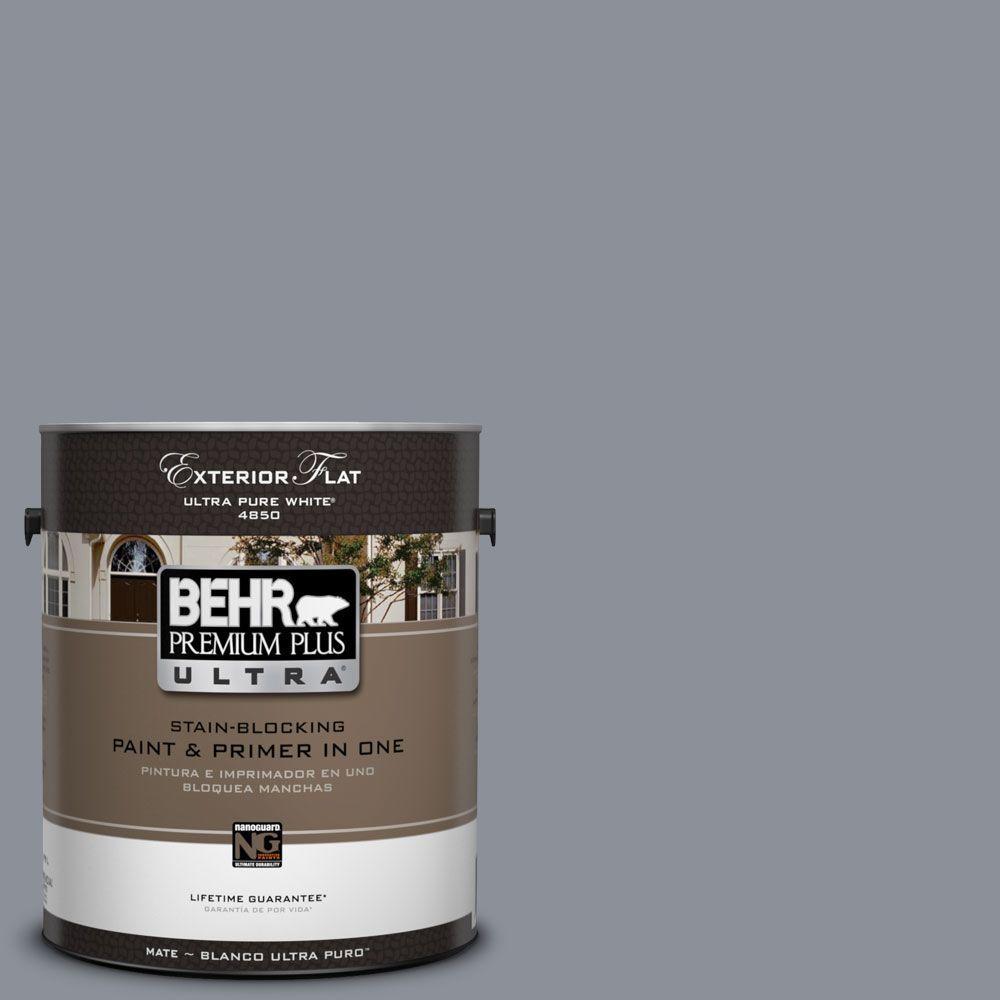 BEHR Premium Plus Ultra 1-Gal. #UL260-20 Dark Pewter Flat Exterior Paint
