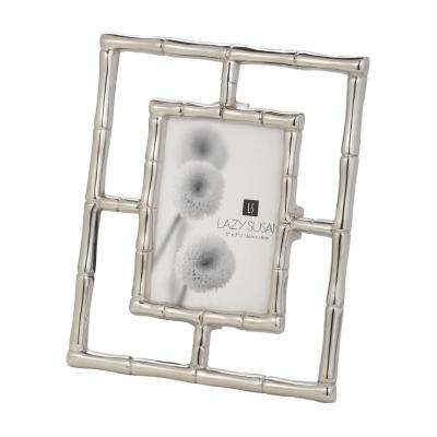 Silver Bamboo 1-Opening 5 in. x 7 in. Aluminum in Silver Finish Picture Frame